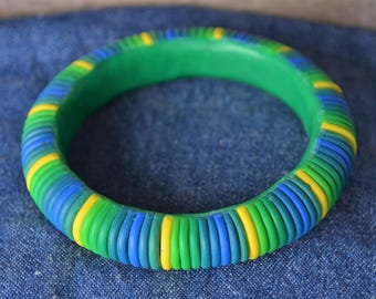 Fun Blue, Green, and Yellow Striped Polymer Clay Bangle
