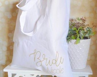 Bride tote bag - personalized bride tote - gift idea for bride - reuseable bag - wedding shower gift - custom bag - canvas bag  - bride bag