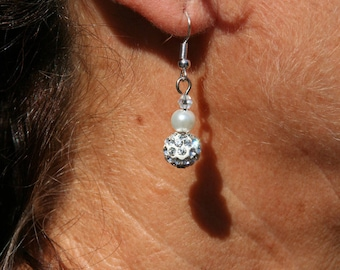 White earrings with Rhinestones