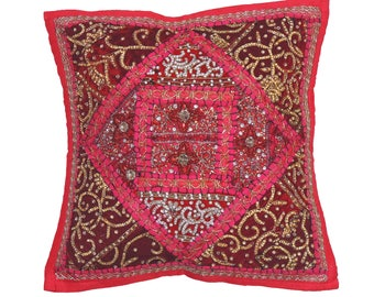 Magenta Indian Sari Decorative Throw Pillow Cover - Beaded Bollywood Couch Sofa Accent Embellished Cushion ~ 16 Inch x 16 Inch - NH17183