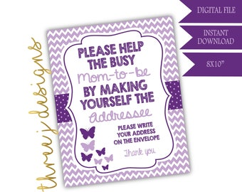 Butterfly Baby Shower Address Envelope Sign - INSTANT DOWNLOAD - Plum and Lavender - Digital File - J004