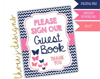 Butterfly Baby Shower Guest Book Table Sign - INSTANT DOWNLOAD - Navy Blue, Pink and Coral - Digital File - J003