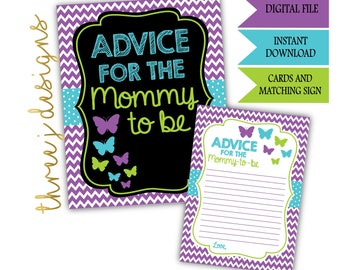 Butterfly Baby Shower Advice for the Mommy To Be Cards and Sign - INSTANT DOWNLOAD - Purple, Teal and Green - Digital File - J006