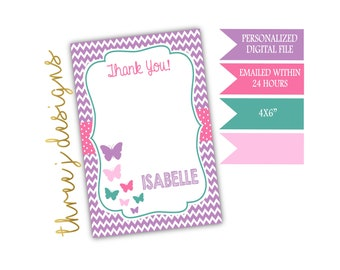 Butterfly Birthday Party Thank You Card - Personalized - Purple, Pink, Teal and Light Pink - Digital File - J009