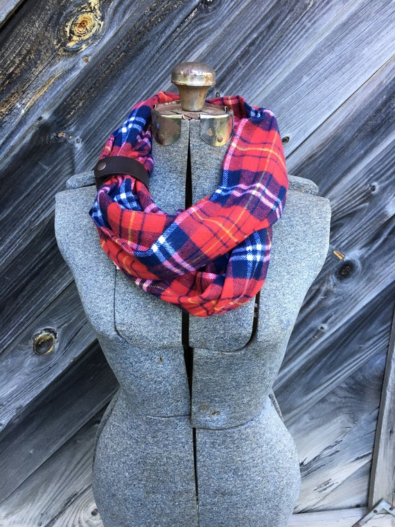 navy and red plaid flannel eternity scarf with a brown leather cuff - soft, trendy