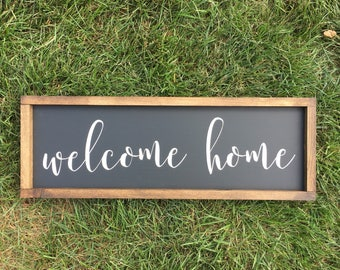 Welcome home sign | home sweet home | handmade sign | framed sign | wooden sign | housewarming gift | new home | welcome sign |