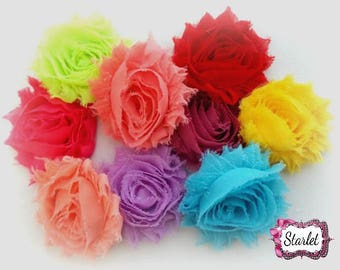 "2.0"" - 2.5"" Shabby Lot, Shabby Flowers, Crafting Flowers, Mix Lot of 8 Solid Shabbies - DIY Headband Supplies - Flower Supplies"