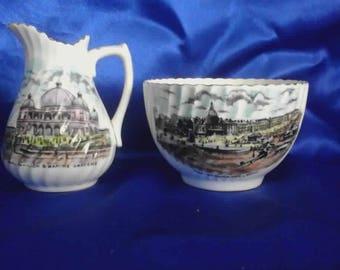 Edwardian Sugar Bowl & Milk Jug, Souvenir 'Rhyl, North Wales', Best English China