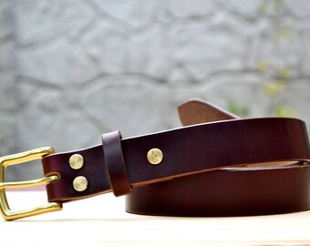 "1.25"" width Burgundy Horween Chromexcel leather belt 