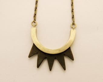 Necklace mid-length noici brass spikes