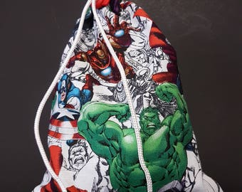 Dice Bag Made from Fabric depicting Marvel's Avengers - Pencil Background.