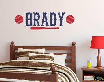 Personalized Name Baseball Wall Decal   Custom Name Baseball Wall Sticker    Vinyl Decal Monogram Boys