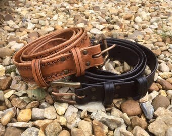 Belt Handmade Leather Extra Large XL Brown Black custom customised up to 65 inches