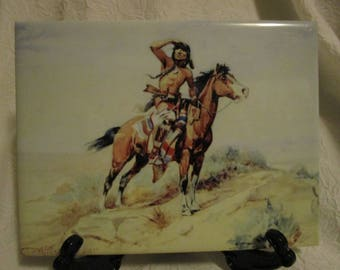 Decorative tile- Native American Indian themed Charles M. Russell (Lookout)