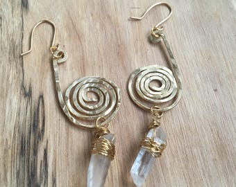 Gaia's Spiral Earrings - Raw Brass Jewelry - Artisan Hand-Crafted Jewelry - Hammered Brass