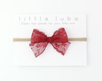 baby lace headband, lace bow, lace bow headband, baby bow, baby lace bow, baby girl headband, Bow headband, lace bow . CRANBERRY Lace Bow