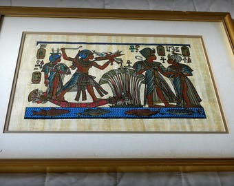 Egyptian painting on Papyrus in old wooden frame