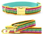 dog collar Ibiza yellow - handmade in 2.5 cm width - hippie, ethno, boho with matching leash available