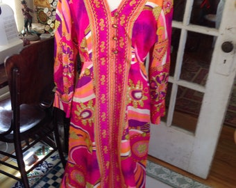 psychedelic acetate lounge dress, size large, NOS