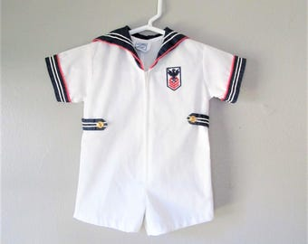 Vintage Baby Boy SAILOR Onesie Outfit / Navy Blue & White Nautical Anchor Baby Shirt / Size 3-6 Mos.