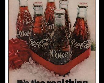 "Vintage Print 1960s : Coke Coca-Cola Advertisement Wall Art Decor Color 8.5"" x 11"""