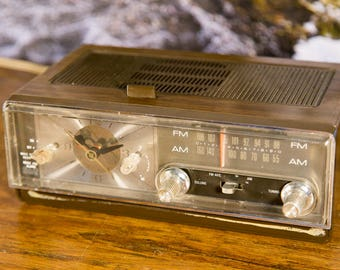 Mid Century AM/FM Clock Radio - Brown and Gold - Cute!