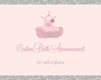 Custom Birth Announcement/DIGITAL FILES/printable/5x7 front and back