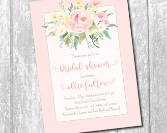 Bridal Shower Invitation classic floral printable/Digital File/watercolor, Classic Bridal Shower, blush, pink, /Wording can be changed