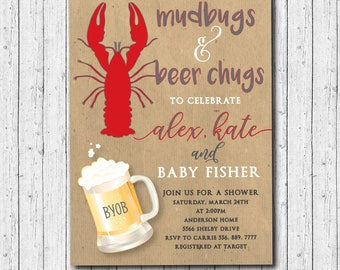 Couples Baby Shower Crawfish Boil/printable/Digital file/mudbugs, beer, baby shower, diaper shower, honey do/Wording can be changed