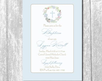 Baptism Boy Invitation Christening/printable/Digital File/Communion, Boy Baptism, Cross, Wreath, blue, gold, girl/Wording can be changed