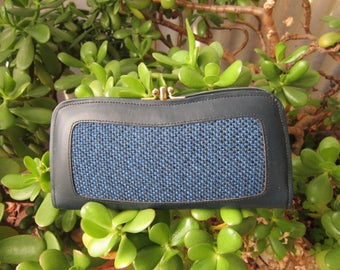 Rolfs Leather Ladies Wallet Vintage 1960's Blue Tweed 4 Section Coin Purse Money Holder Purse Billfold Accessory Gift Valentines Mothers Day