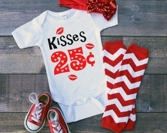 Kisses 25 Cents Valentine's Funny  Bodysuit or T-Shirt for Baby Toddler Kid Newborn Babies Shower Coming Home Gift Idea Creeper Present Cute