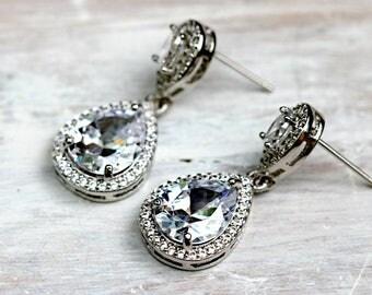 Bridal Teardrop Earrings | Elegant Wedding Drop Earrings | Glamorous AAA Clear CZ Teardrop Earrings | Bridal CZ Earrings Wedding Earrings