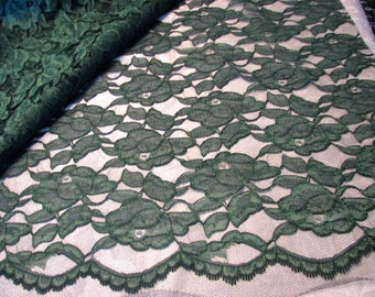 Vintage Lace Emerald Green Fabric Scallops Floral