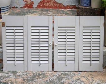 Vintage Shutter Doors, Rustic Pair Of Shutters, Gray, Grey, Farmhouse Decor,