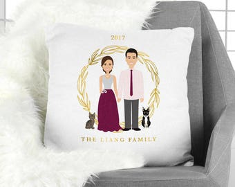 Family Portrait Pillow / Christmas Portrait, Couple, Children, Family Portrait, Cat, Dog, Pet Portrait ▷ Pillowcase {or} Stuffed Pillow