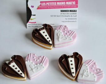 delicious heart shaped macaroon style couple married, perfect wedding decoration