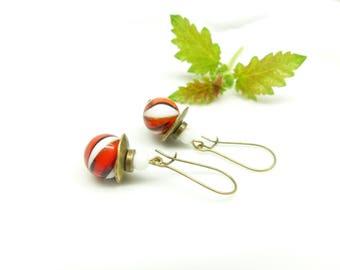 ♦ barley sugar - ♦ retro earrings, red and white glass
