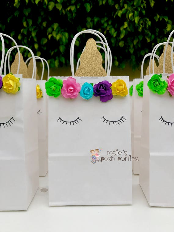 Unicorn Favor bags for Birthday guests centerpiece Unicorn ...
