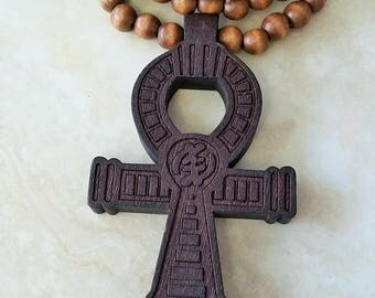 Ankh Egyptian Cross Charm Pendant Symbol Wooden Beaded Necklace 35 Inches Brown