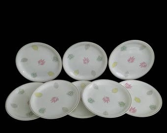 Vintage Mid Century Modern Set of 10 Raymond Loewy for Rosenthal Bread & Butter Porcelain Plates w/ Leaves Motiff MCM 1960s