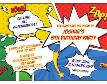 Printed Personalised Superhero Birthday Party Invitations x10