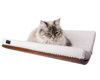 curved cat bed cat shelf SOFT WHITE cushion pet supplies wood shelf cat bed modern cat bed cat perch wall mounted shelf cosy and dozy lovers