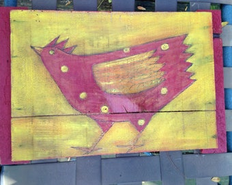 folk art painting, chicken painting, kitchen art,