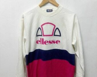 Vintage ELLESSE Perugia Italia Sweatshirt Embroidery Big Logo Pullover