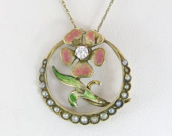 Antique Victorian 14k Gold Genuine Diamond & Pearl Flower Pendant