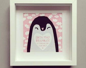 Mr Penguin Framed Personalised Print