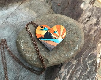 Wooden Heart Necklace - Cannon Beach