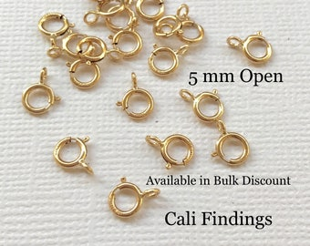 100 Pcs - 14K Gold Filled 5mm Spring Clasp, Gold Fill Clasp, Gold Fill Spring Clasp, Open Gold Spring Clasp, Gold Clasp, Necklace Clasp