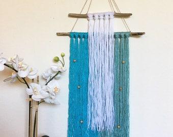 Mermaid wall hanging // Coastal wall hanging // blue teal wall hanging // yarn wall hanging // living room decor // coastal home decor